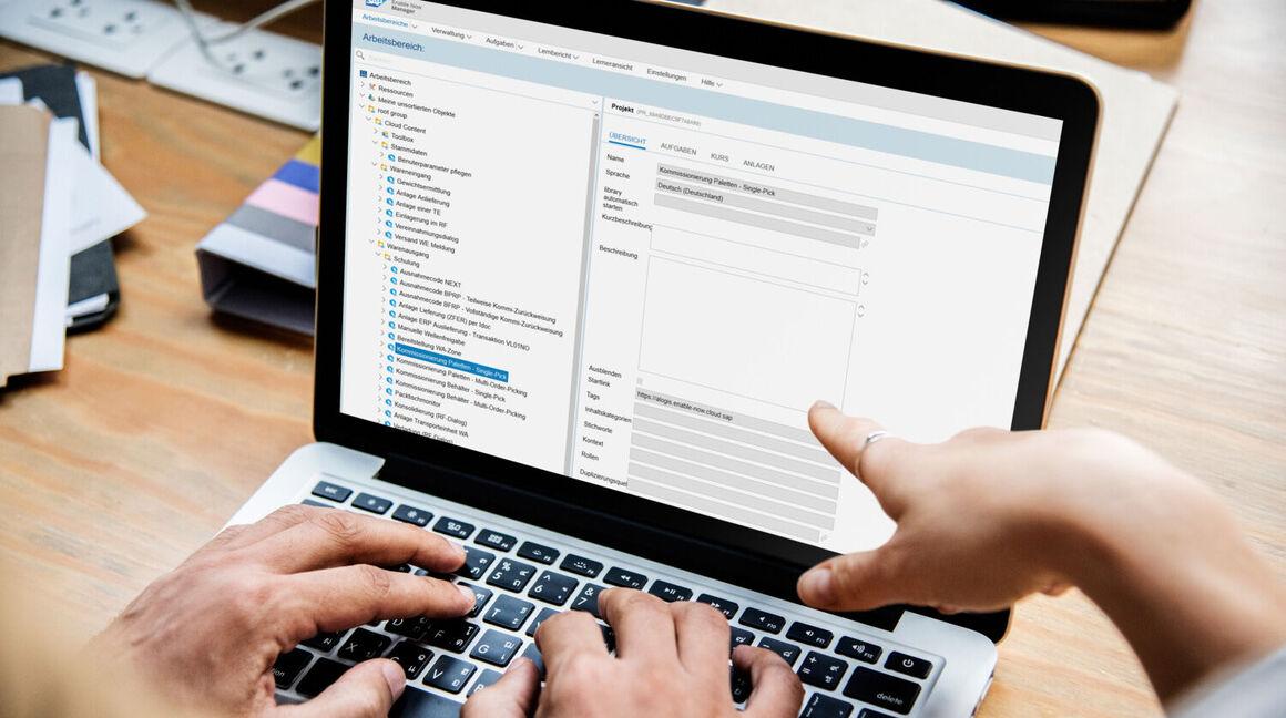 SAP Enable Now Manager mit Menüstruktur zur Ablage von Dokumenten